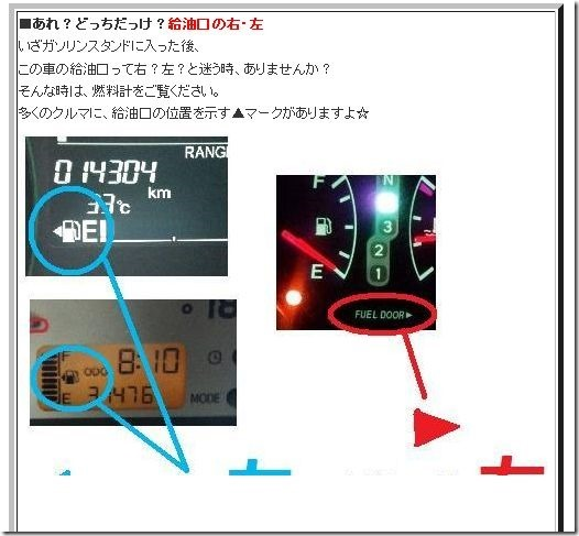 【朗報】ガソリン給油口の位置が判らなくなったら「▲」の向きを確認すれば済む 1281d3e4 thumb